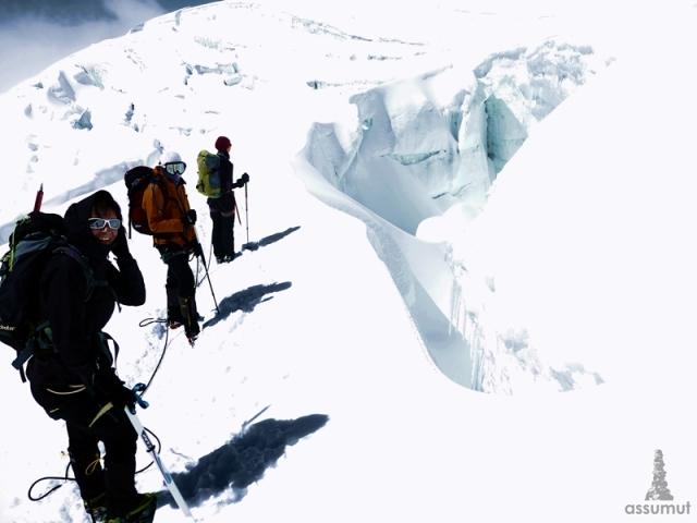 Descenso por el glaciar.